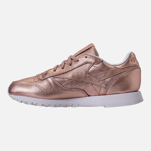 Left view of Women's Reebok Classic Leather Metallic Casual Shoes in Pearl Metallic/Peach/White