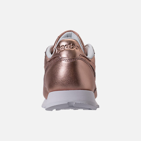 Back view of Women's Reebok Classic Leather Metallic Casual Shoes in Pearl Metallic/Peach/White