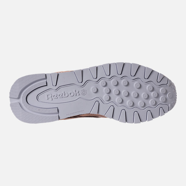 Bottom view of Women's Reebok Classic Leather Metallic Casual Shoes in Pearl Metallic/Peach/White
