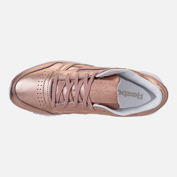 Top view of Women's Reebok Classic Leather Metallic Casual Shoes in Pearl Metallic/Peach/White