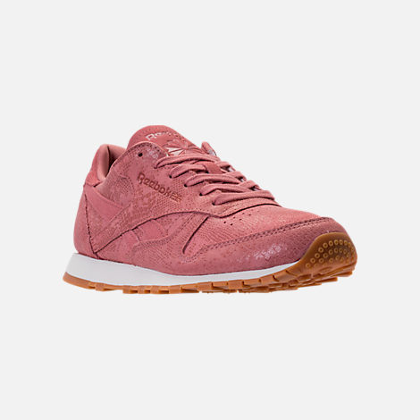Three Quarter view of Women's Reebok Classic Leather Exotic Casual Shoes in Sandy Rose/Chalk/Gum
