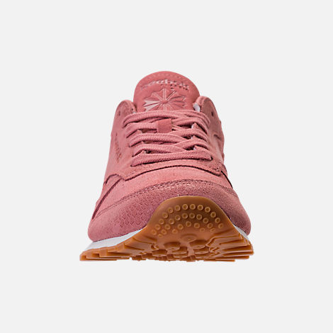 Front view of Women's Reebok Classic Leather Exotic Casual Shoes in Sandy Rose/Chalk/Gum
