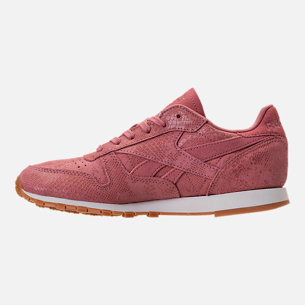 Left view of Women's Reebok Classic Leather Exotic Casual Shoes in Sandy Rose/Chalk/Gum