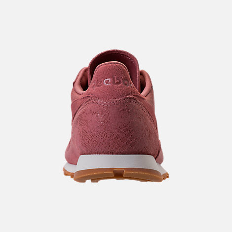 Back view of Women's Reebok Classic Leather Exotic Casual Shoes in Sandy Rose/Chalk/Gum