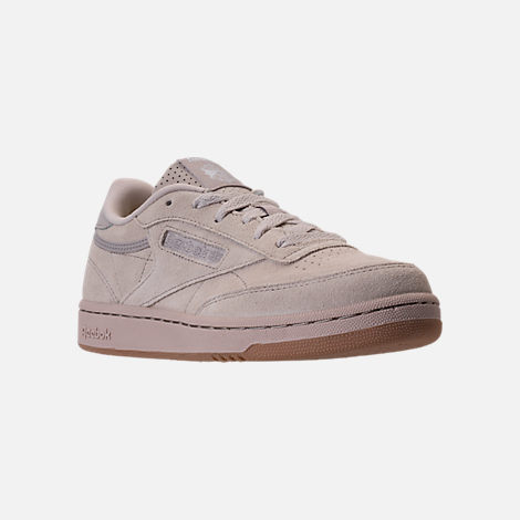 Three Quarter view of Boys' Grade School Reebok Club C Casual Shoes in Sandstone/Gum