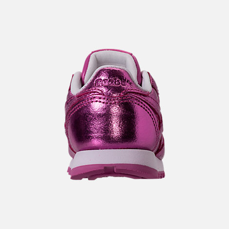 Back view of Girls' Toddler Reebok Classic Leather Metallic Casual Shoes in Charged Pink/White
