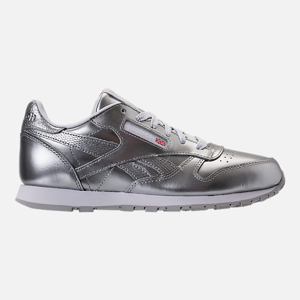 Right view of Girls' Grade School Reebok Classic Leather Metallic Casual Shoes in Silver/White