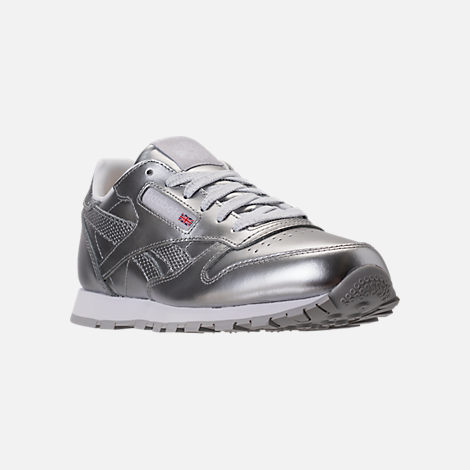 Three Quarter view of Girls' Grade School Reebok Classic Leather Metallic Casual Shoes in Silver/White