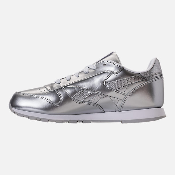 Left view of Girls' Grade School Reebok Classic Leather Metallic Casual Shoes in Silver/White