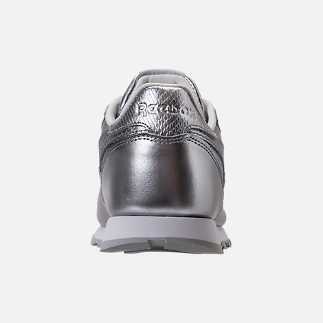 Back view of Girls' Grade School Reebok Classic Leather Metallic Casual Shoes in Silver/White