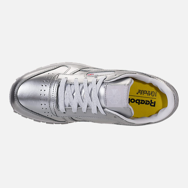 Top view of Girls' Grade School Reebok Classic Leather Metallic Casual Shoes in Silver/White