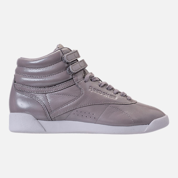 Right view of Women's Reebok Freestyle Hi Iridescent Casual Shoes in Grey