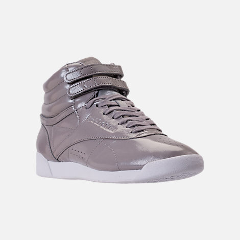 Three Quarter view of Women's Reebok Freestyle Hi Iridescent Casual Shoes in Grey