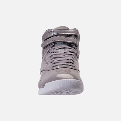 Front view of Women's Reebok Freestyle Hi Iridescent Casual Shoes in Grey