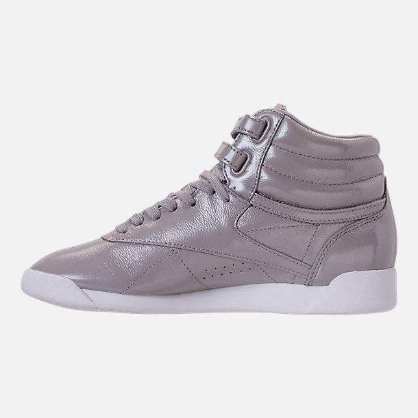 Left view of Women's Reebok Freestyle Hi Iridescent Casual Shoes in Grey