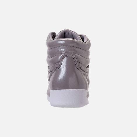 Back view of Women's Reebok Freestyle Hi Iridescent Casual Shoes in Grey