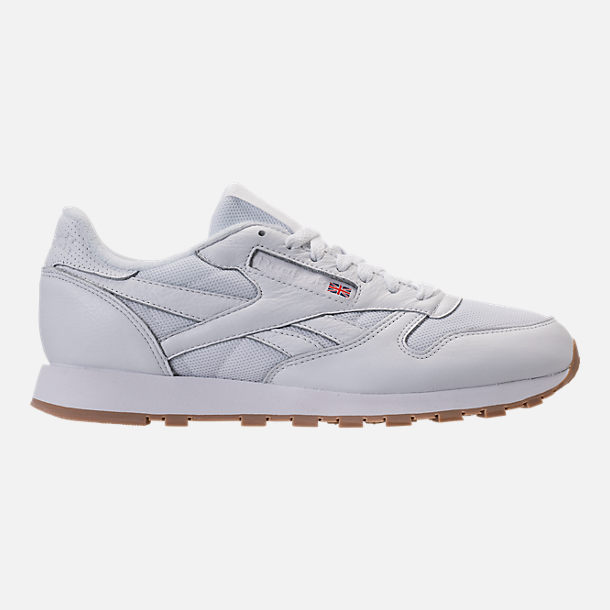 Right view of Men's Reebok Classic Leather ESTL Casual Shoes in White/Skull Grey/Washed Blue