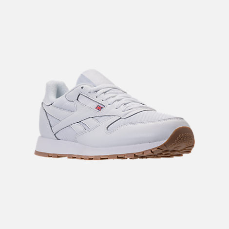 Three Quarter view of Men's Reebok Classic Leather ESTL Casual Shoes in White/Skull Grey/Washed Blue