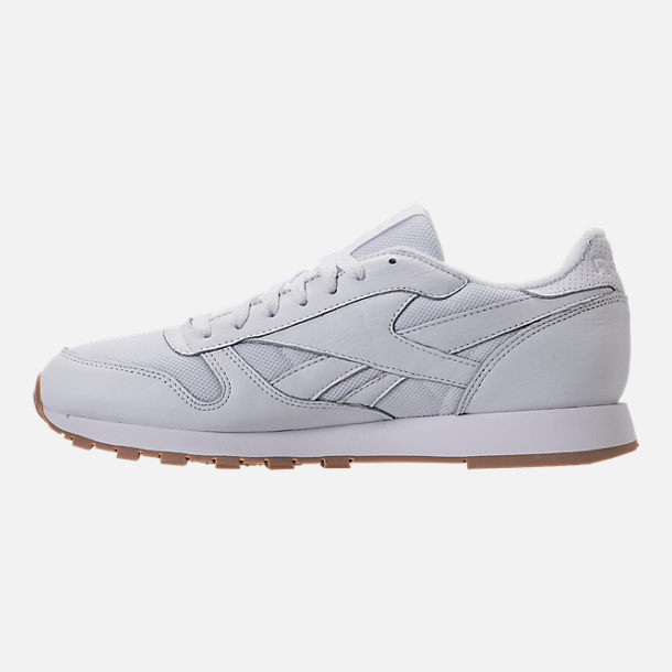 Left view of Men's Reebok Classic Leather ESTL Casual Shoes in White/Skull Grey/Washed Blue