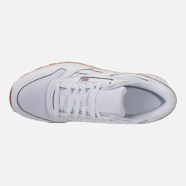Top view of Men's Reebok Classic Leather ESTL Casual Shoes in White/Skull Grey/Washed Blue