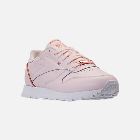 Three Quarter view of Women's Reebok Classic Leather HW Casual Shoes in Pale Pink