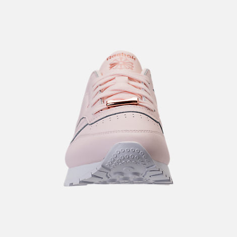 Front view of Women's Reebok Classic Leather HW Casual Shoes in Pale Pink