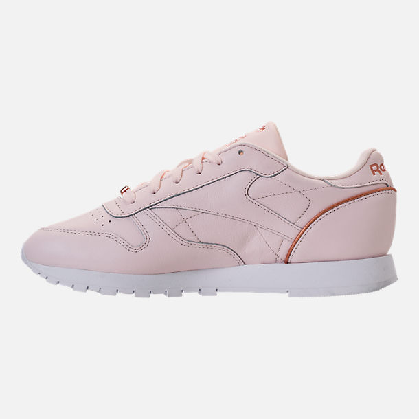 Left view of Women's Reebok Classic Leather HW Casual Shoes in Pale Pink