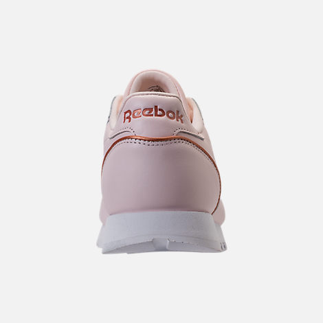 Back view of Women's Reebok Classic Leather HW Casual Shoes in Pale Pink