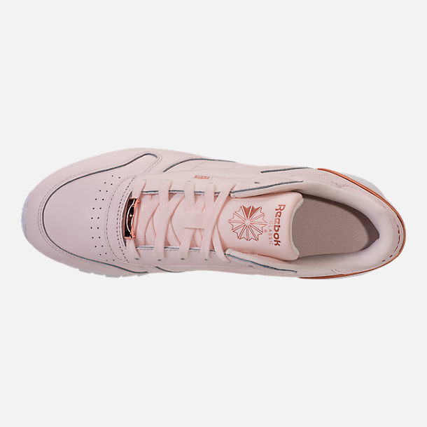 Top view of Women's Reebok Classic Leather HW Casual Shoes in Pale Pink