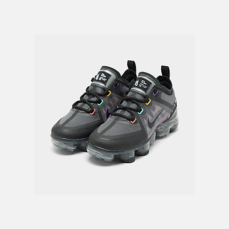Three Quarter view of Big Kids' Nike Air VaporMax 2019 Running Shoes in Black/Flash Crimson/Kinetic Green