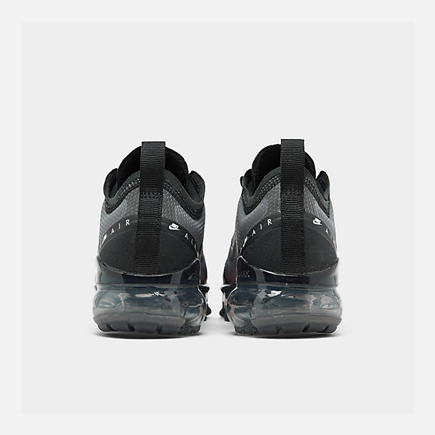 Left view of Big Kids' Nike Air VaporMax 2019 Running Shoes in Black/Flash Crimson/Kinetic Green