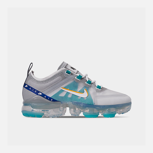 Right view of Big Kids' Nike Air VaporMax 2019 Running Shoes in Pure Platinum/Teal Nebula/Game Royal