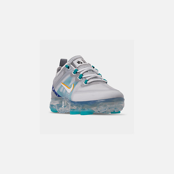 Three Quarter view of Big Kids' Nike Air VaporMax 2019 Running Shoes in Pure Platinum/Teal Nebula/Game Royal
