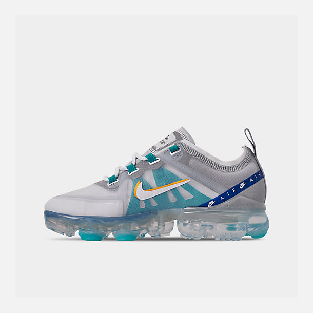 Left view of Big Kids' Nike Air VaporMax 2019 Running Shoes in Pure Platinum/Teal Nebula/Game Royal