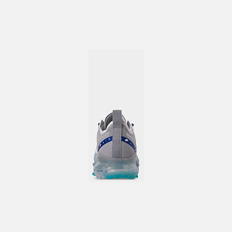 Back view of Big Kids' Nike Air VaporMax 2019 Running Shoes in Pure Platinum/Teal Nebula/Game Royal