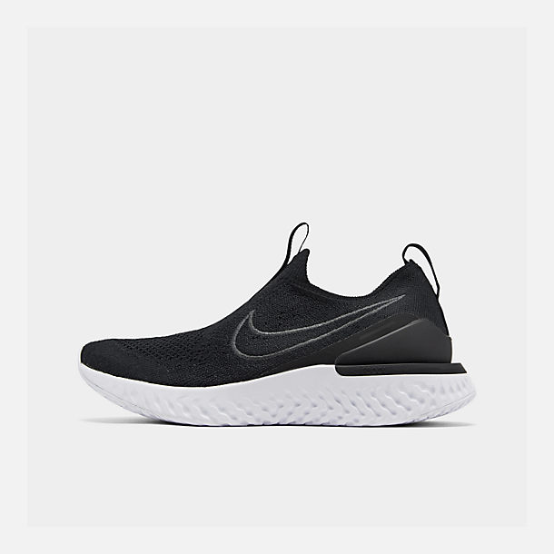Right view of Women's Nike Epic Phantom React Flyknit Running Shoes in Black/Black/White