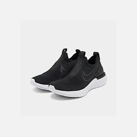 ad1f9923d96d Three Quarter view of Women's Nike Epic Phantom React Flyknit Running Shoes  in Black/Black