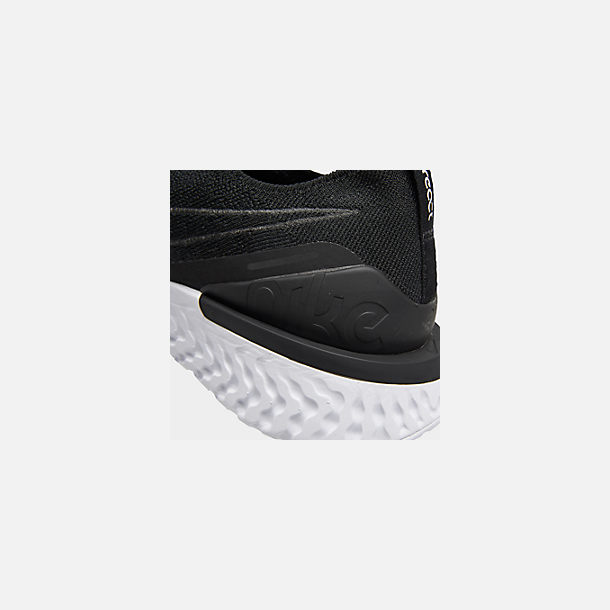 Front view of Women's Nike Epic Phantom React Flyknit Running Shoes in Black/Black/White