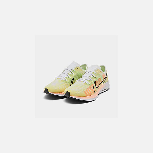 Three Quarter view of Women's Nike Zoom Pegasus Turbo 2 Running Shoes in Luminous Green/Black/White/Crimson
