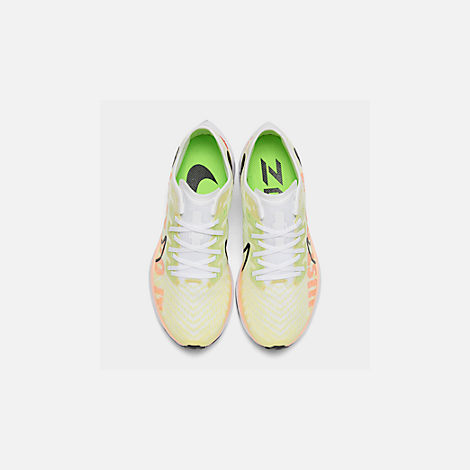 Back view of Women's Nike Zoom Pegasus Turbo 2 Running Shoes in Luminous Green/Black/White/Crimson