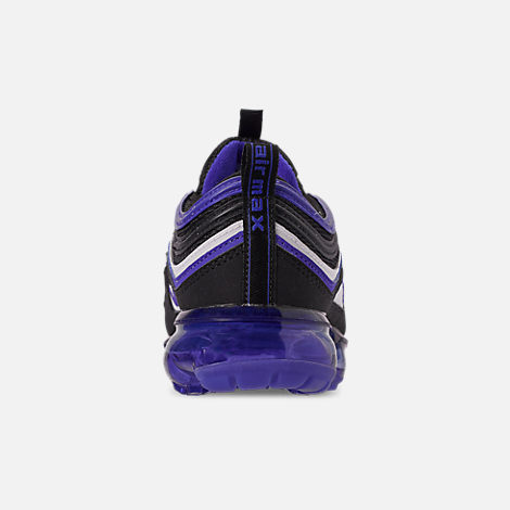 Back view of Kids' Nike Air VaporMax '97 Casual Shoes in Black/Persian Violet