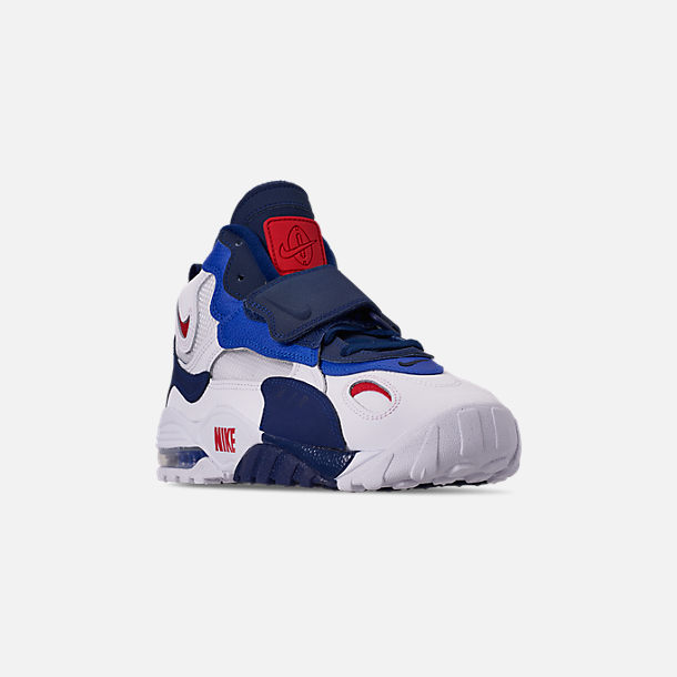 Three Quarter view of Men's Nike Air Max Speed Turf Training Shoes in White/University Red/Blued Void/Racer Blue