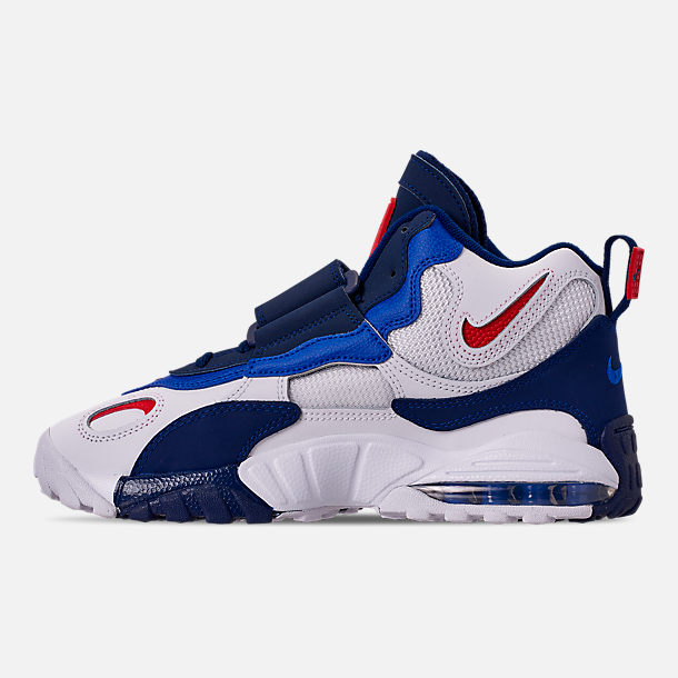 Left view of Men's Nike Air Max Speed Turf Training Shoes in White/University Red/Blued Void/Racer Blue