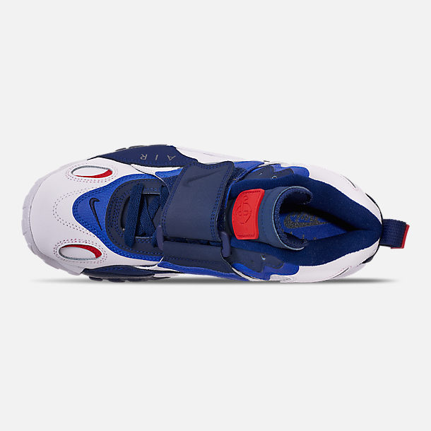 Top view of Men's Nike Air Max Speed Turf Training Shoes in White/University Red/Blued Void/Racer Blue
