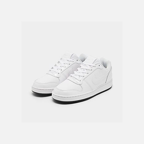 Three Quarter view of Men's Nike Ebernon Low Casual Shoes in White/White/Black