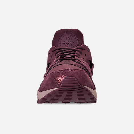 Front view of Women's Nike Air Huarache Run BL Casual Shoes in Burgundy Crush/Burgundy Crush/Diffused