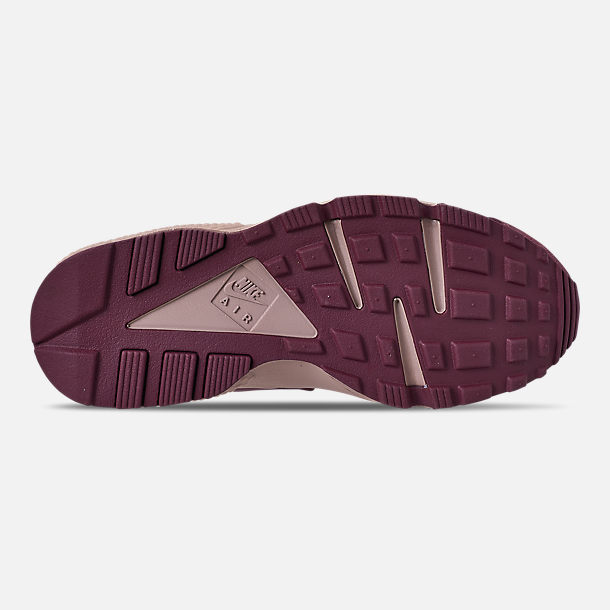 Bottom view of Women's Nike Air Huarache Run BL Casual Shoes in Burgundy Crush/Burgundy Crush/Diffused