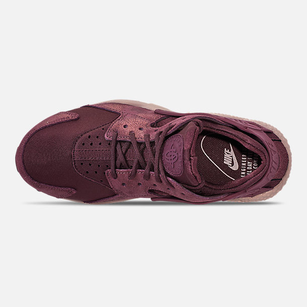 Top view of Women's Nike Air Huarache Run BL Casual Shoes in Burgundy Crush/Burgundy Crush/Diffused