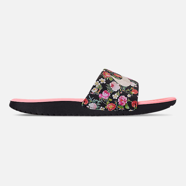 Right view of Girls' Big Kids' Nike Kawa Slide Sandals in Black/Pale Ivory/Pink Tint