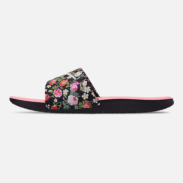 Left view of Girls' Big Kids' Nike Kawa Slide Sandals in Black/Pale Ivory/Pink Tint